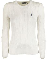 Ralph Lauren Slim Fit Cable-knit Sweater - White