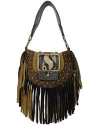 DSquared² Shoulder Bags Miss West Fringe Pony Skin - Brown