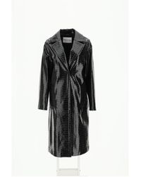 STAND Emerson Coat In Faux Leather - Black