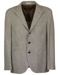 Brunello Cucinelli - Wool And Cashmere Knit Effect Diagonal Twill Deconstructed Blazer With Patch Pockets - Lyst