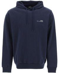 A.P.C. Item 001 Logo Print Hoodie S Cotton - Blue
