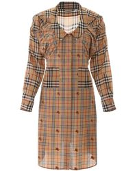 Burberry Check Panelled Shirt Dress - Brown