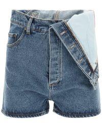 Y. Project Denim Shorts With Asymmetrical Waist - Blue