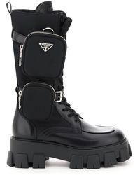 Prada Monolith Boots Double Pouch - Black