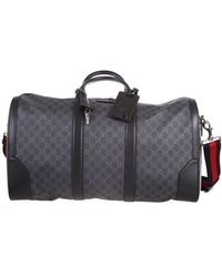 Gucci Travel Bag In Black And Grey Gg Supreme Fabric