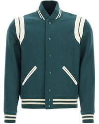 Saint Laurent Teddy Bomber Jacket In Wool And Leather - Green