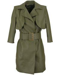Elisabetta Franchi Faux Leather Dress With Maxi Belt - Green