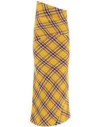 Miu Miu Midi Check Felted Skirt - Yellow