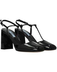 Prada Sandals Patent Leather - Black