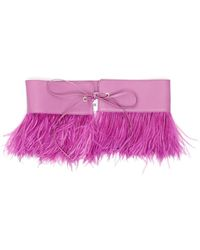 The Attico Nappa Belt With Feathers - Purple