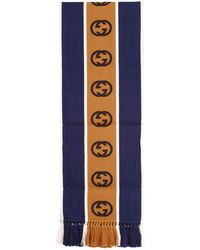 Gucci Wool Scarf With Gg Ribbon - Blue