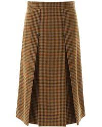 Celine Houndstooth Skirt - Brown