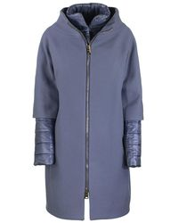 Herno Long Jacket With External Wool Coat - Blue