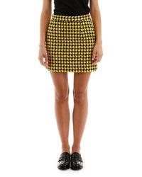 Alessandra Rich Houndstooth High Waist Mini Skirt - Yellow