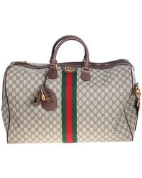 Gucci Ophidia Travel Bag In Beige And Ebony Gg Supreme Fabric With Green And Red Web Detail - Natural