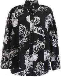 Loewe Feather Print Blouse - Black