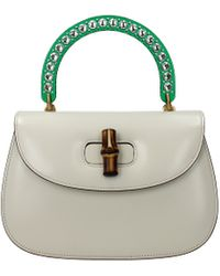 Gucci White Handbags Bamboo