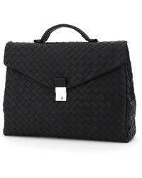 Bottega Veneta Woven Leather Briefcase - Black