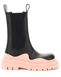 Bottega Veneta Bv Tire Leather Chelsea Boots - Black