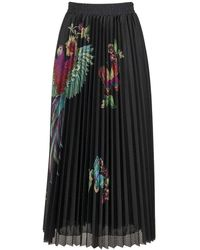 RED Valentino Long Pleated Skirt With Flowers And Parrot - Black