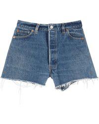 RE/DONE Raw-hem Shorts - Blue