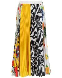 MSGM - Patchwork Pleated Skirt - Lyst