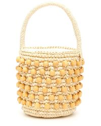 Sensi Studio Mini Wicker Bucket Bag - Metallic