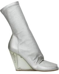 Rick Owens Ankle Boots Leather - Metallic