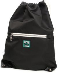 Prada Backpack With Logo Patch - Black