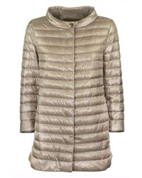 Herno Rossella Beige Medium Length Cowl Neck Down Jacket - Natural