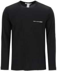 Comme des Garçons Long-sleeved T-shirt With Logo Print Xs Cotton - Black
