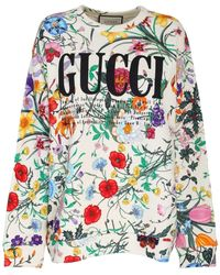 8784d9c0 Gucci Oversize Sweatshirt With Flora Print in White - Lyst