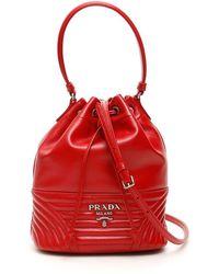 Prada Diagramme Mini Bucket - Red
