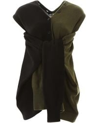 Marni Bicolor Knit With Tied Sleeves - Black