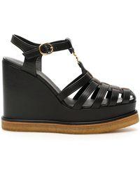 Celine Manon Wedge Sandals - Black