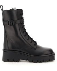 Valentino Garavani Valentino Garavani Combat Campsite Leather Boots - Black