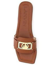 Lanvin Swan Mules Logo Buckle - Brown