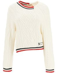 N°21 Asymmetric Jumper 38 Wool - White
