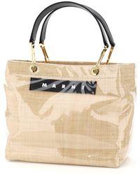 Marni Glossy Grip Tote Bag Raffia - Multicolour