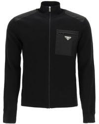 Prada Zip-up Cardigan Triangle Logo - Black