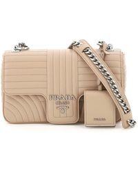 Prada Diagramme Medium Shoulder Bag - Natural