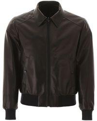 Prada Reversible Leather And Nylon Bomber Jacket - Black