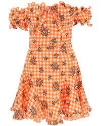 Alessandra Rich Gingham Silk Mini Dress - Orange