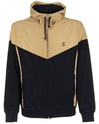 Brunello Cucinelli Lightweight Techno Cotton French Terry Sweatshirt With Nylon Yoke And Hood - Blue