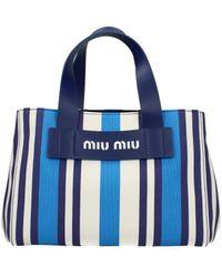 Miu Miu Blue Small Striped Canvas Tote Bag