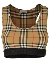 Burberry Dalby Logo Detail Vintage Check Bra Top - Natural