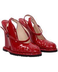 Bottega Veneta Sandals Patent Leather - Red