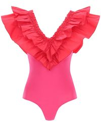 MSGM Ruffle Bodysuit Top - Pink