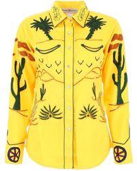 Jessie Western Embroidered Shirt - Yellow