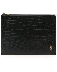 Saint Laurent Monogram Ipad Case - Black